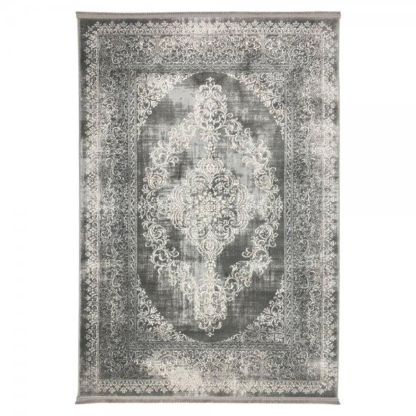 Schimmernd Orient Vintage Teppich Grau Weiß