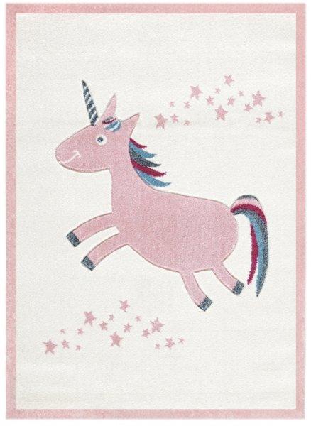 Kinderteppich Einhorn & Sterne Rosa Weiß
