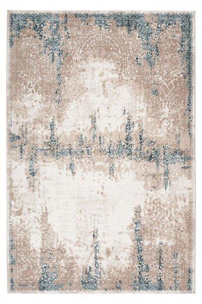 Desingteppich Philine aqua Polyester mit Schrumpfanteil Moderner Teppich