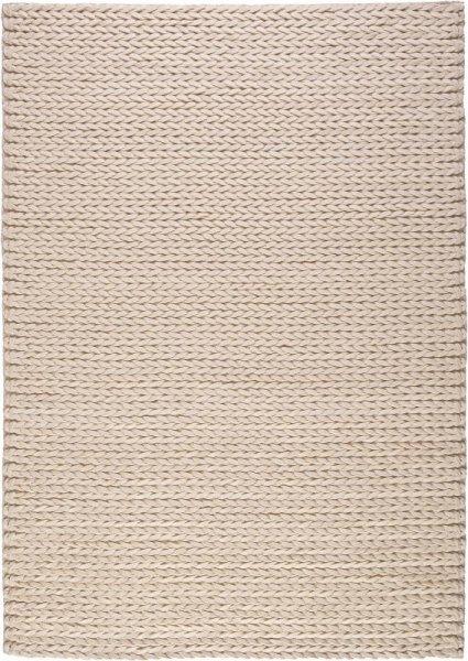 Wollfilz Teppich Handvernäht Creme Weiß