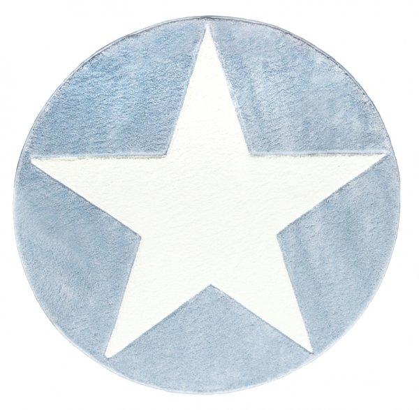 Stern Teppich Rund Blau Weiß