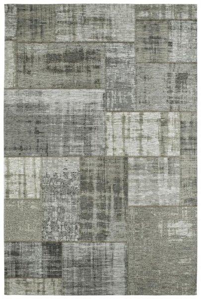 Teppich Patchwork Look Grau Silber
