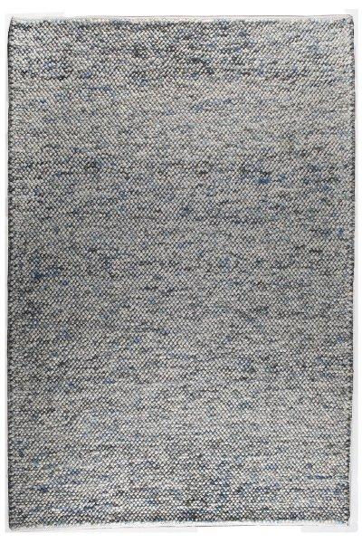 Wollteppich SYLT Handgewebt Weiß Blau