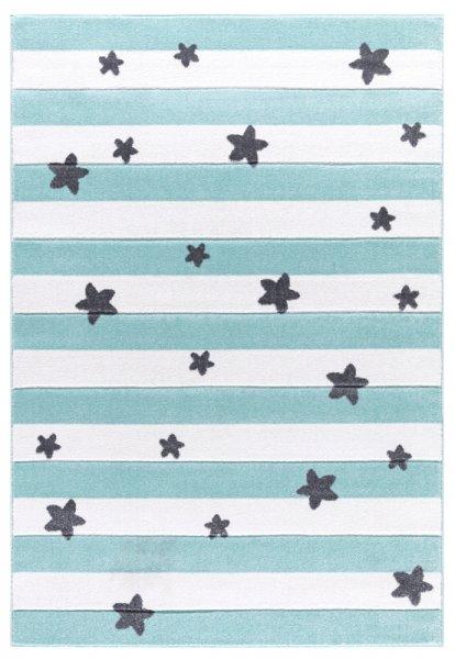 Teppich Streifen & Sterne Mint Weiß