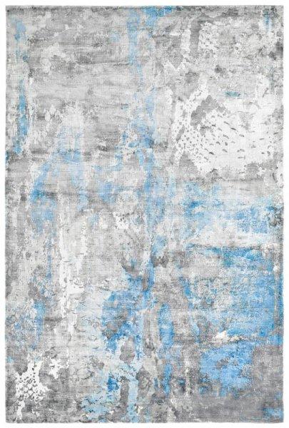 Designer Teppich ETERNITY Handgefertigt Grau Blau