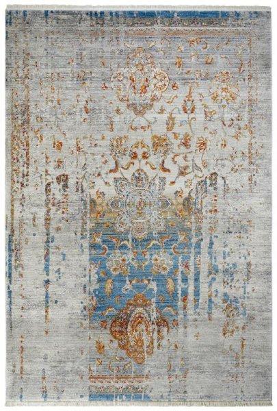 Teppich Vintage Look Grau Blau Gold