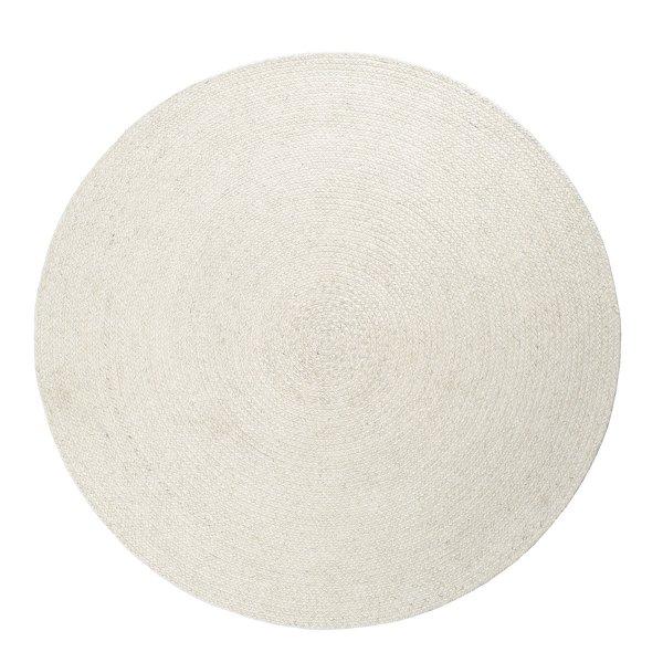 Runder Flachgewebe Teppich Handgewebt Weiß