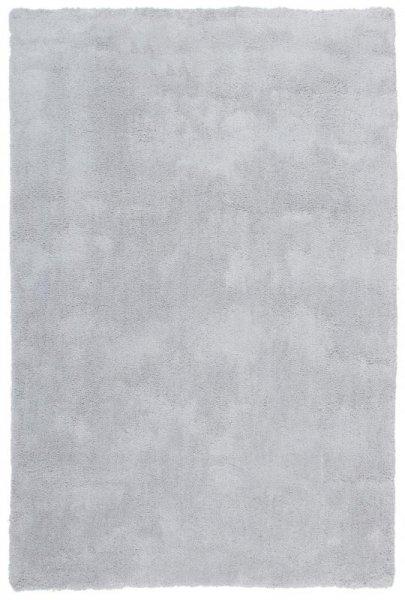 Hochflor Teppich Handgetuftet Silber Grau