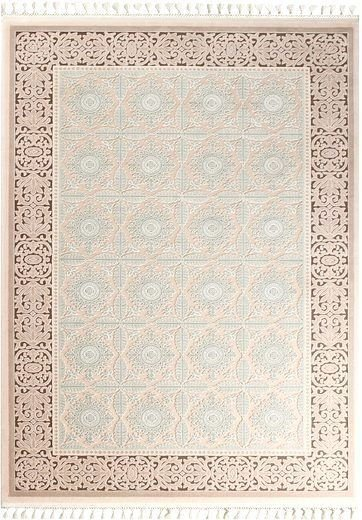 Teppich Läufer Orient Muster Beige Türkis Braun