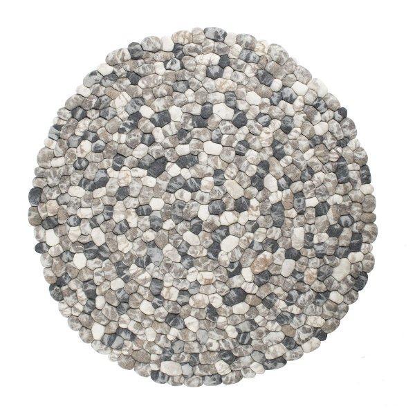 Wollteppich Rund Stein-Optik Grau Weiß Beige