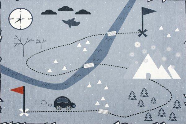 Spielteppich LOUIS Auto & Natur Waschbar Hellblau