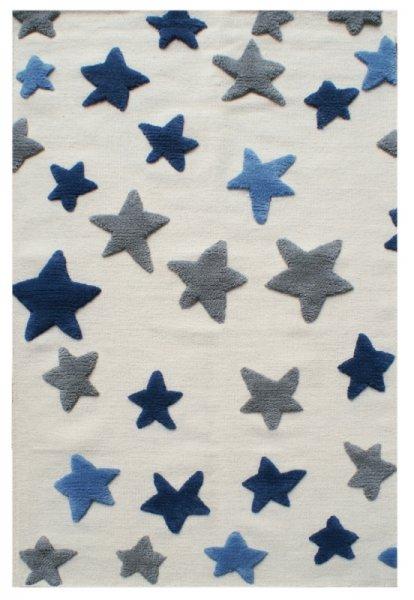 Sterne Teppich DREAMLAND Blau Grau Weiß