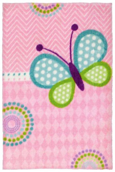 Kinderteppich Schmetterling pink rechteckig Mädchen Teppich Kinderzimmer