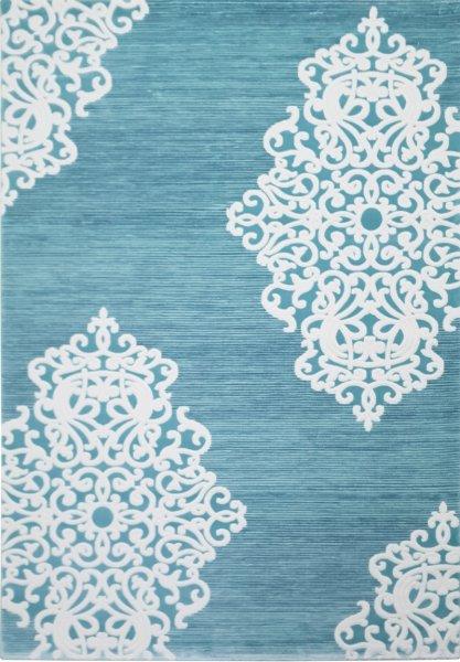 Retro Teppich Ornamente Türkis Weiß