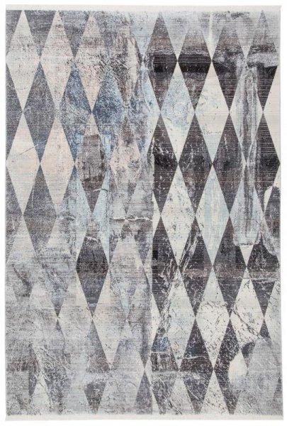 Teppich Rauten Used Design Silber Grau