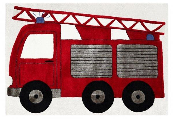 Kinderteppich 120x180cm Feuerwehr Rot Weiß