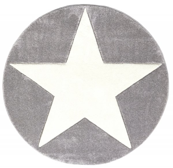 Stern-Teppich HENRY Rund Weiß Grau