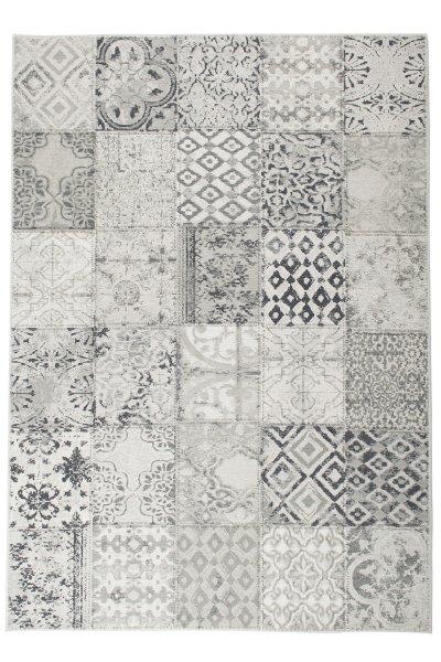 Flachgewebe Teppich Retro Patchwork Design Hellgrau