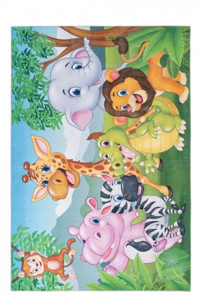 Kinderteppich Jungle Tiere rechteckig Kinderzimmerteppich Spielteppich