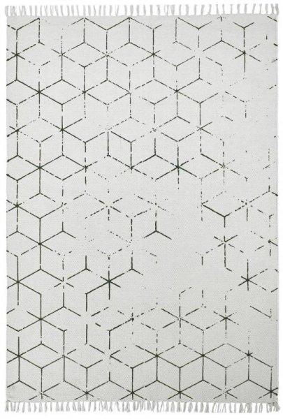 Baumwoll-Teppich Handgewebt Used Look Creme Grün