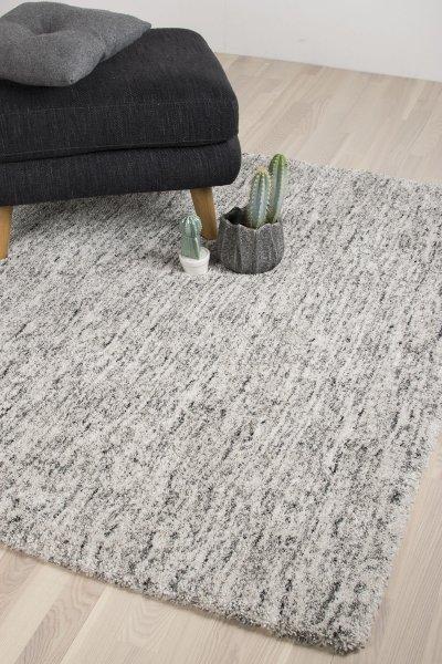Hochflor Teppich DALLAS Grau Weiß