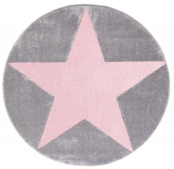 Stern-Teppich HENRY Rund Pink Grau