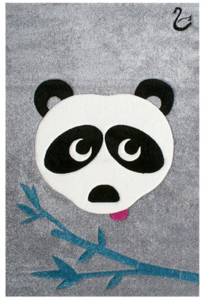 Kinderteppich Panda-Bär Grau Schwarz Weiß