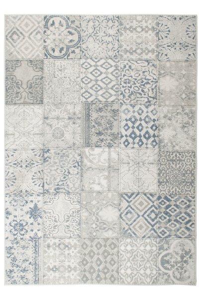 Flachgewebe Teppich Retro Patchwork Design Hellblau