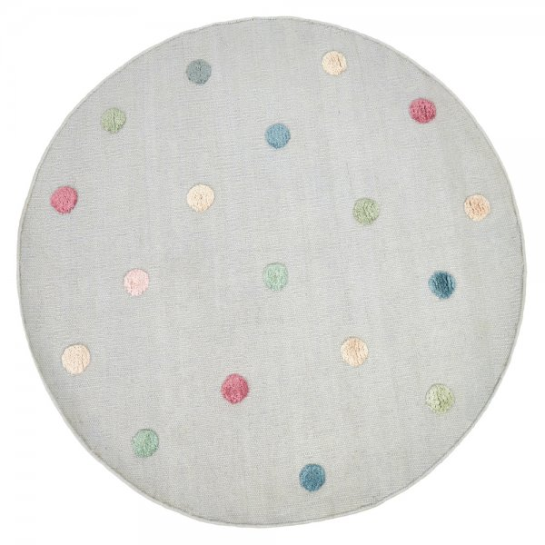 Handgewebter Teppich für Kinderzimmer Grau Rund