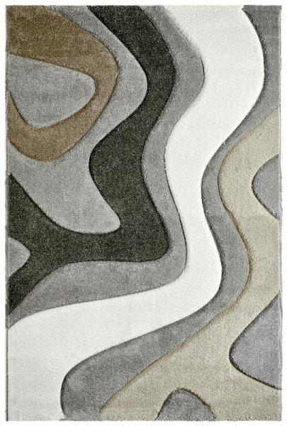 Designer Teppich Wellenmuster Grau Beige Weiß