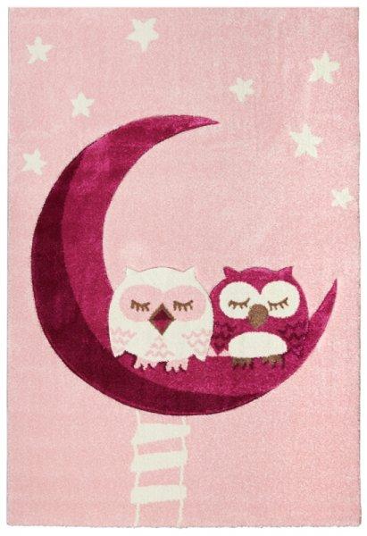 Kinderteppich Eulen Mond Sterne Rosa
