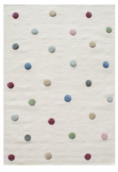 Kinder-Wollteppich Punkte Weiß Bunt