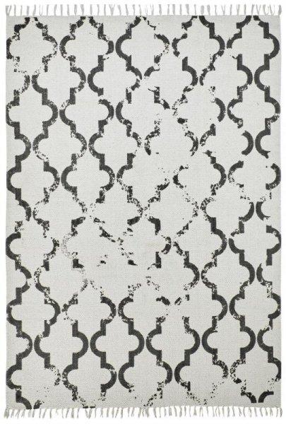 Baumwoll-Teppich Handgewebt Retro Used Creme Anthrazit
