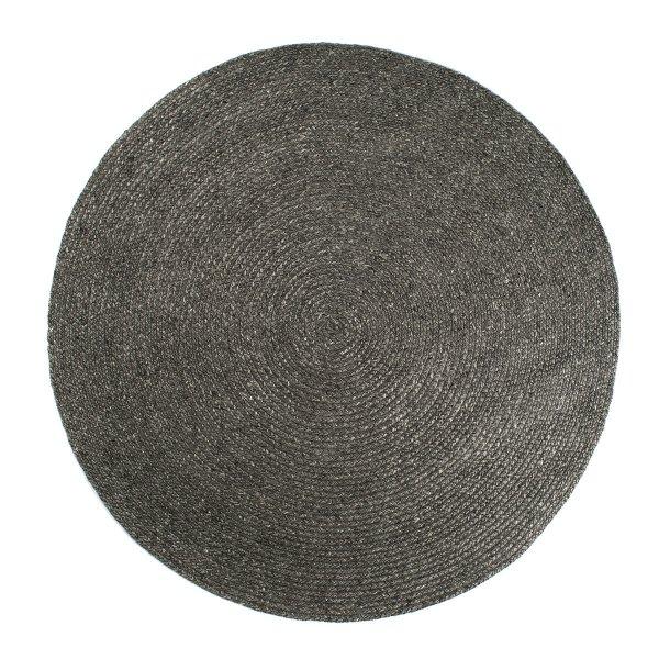 Runder Flachgewebe Teppich Handgewebt Grau Dunkel
