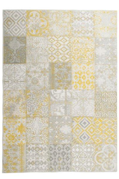 Flachgewebe Teppich Retro Patchwork Design Gelb