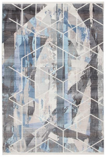 Design Teppich Grau Silber Blau