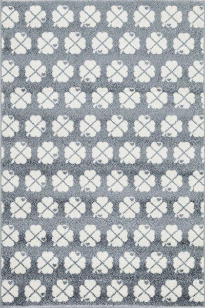 Kinderteppich Kleeblätter Grau Weiß
