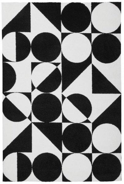 Teppich Geometrisches Muster Schwarz Weiß
