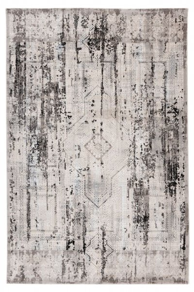 Desingteppich Philine grau Polyester mit Schrumpfanteil Moderner Teppich