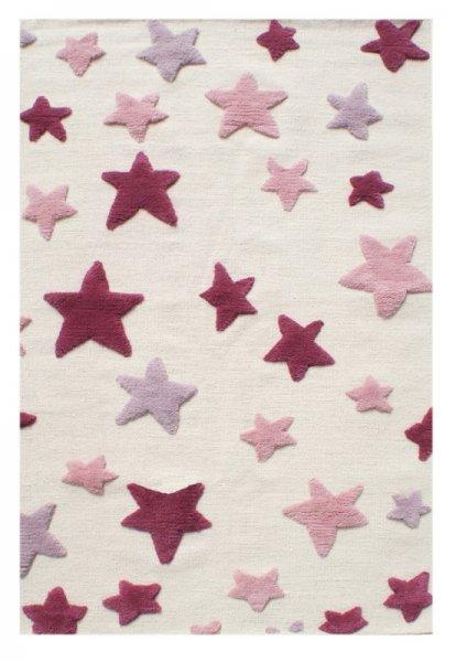 Kinderteppich MILA Sterne Rosa Weiß