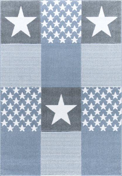 Teppich Sterne Muster Blau Weiß Grau