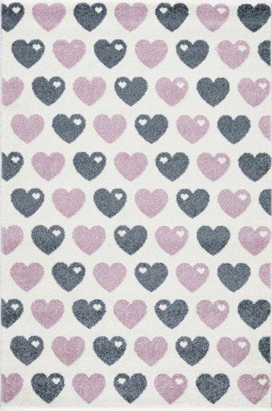 Kinderteppich Herzen Grau Pink Weiß