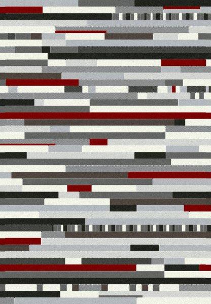 Teppich Streifen Design Rot Grau Weiß