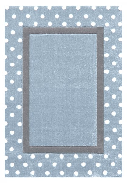 Kinderteppich Rechteck Punkte Hellblau Grau Weiß