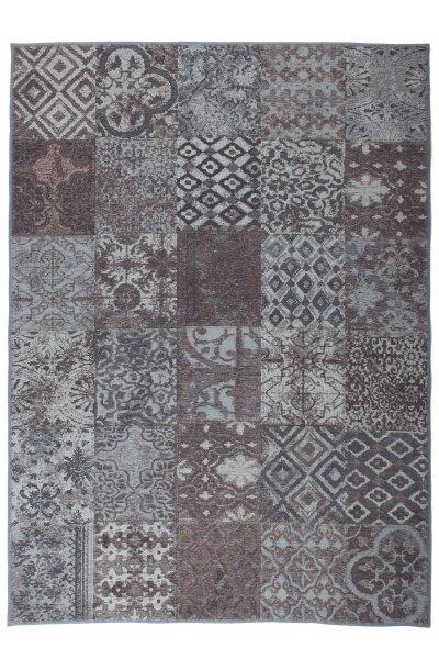 Flachgewebe Teppich Retro Patchwork Design Aubergine