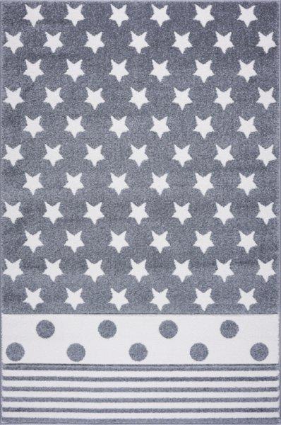Kinderteppich EMILY Sterne Streifen Punkte Grau Weiß