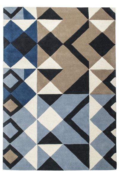 Hochflor Design Wollteppich Handgetuftet Blau