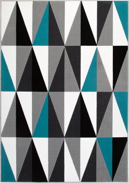 Teppich Dreieck Design Türkis Grau Weiß
