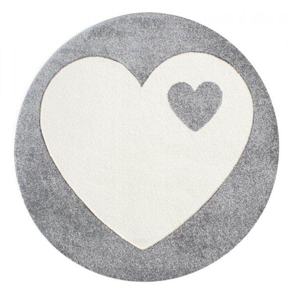 Runder Kinderteppich Herz Grau Weiß