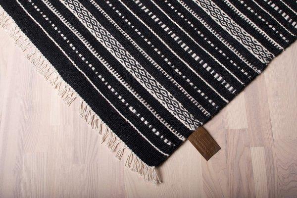 Wollteppich ISLAND Handgewebt Schwarz Streifen
